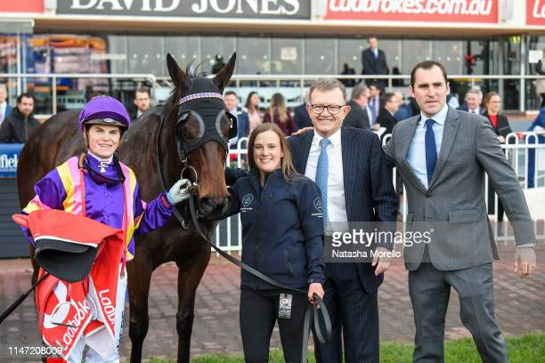 Craig Williams with connections of Petrelle and Archie Alexander after winning the Whisky Wine Fire Volvo Cars Brighton Handicap at Caulfield...
