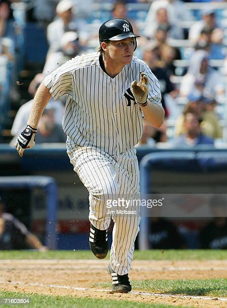 Craig Wilson of the New York Yankees runs to first base against the Toronto Blue Jays at Yankee Stadium on August 3, 2006 in the Bronx borough of New...