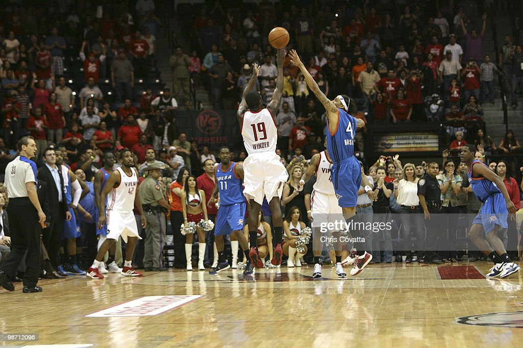 Craig Winder #19 of the Rio Grande Valley Vipers shoots a three pointer at the buzzer to defeat the Tulsa 66ers in Game Two of the 2010 NBA D-League Finals at the State Farm Arena on April 27, 2010 in Hidalgo, Texas.