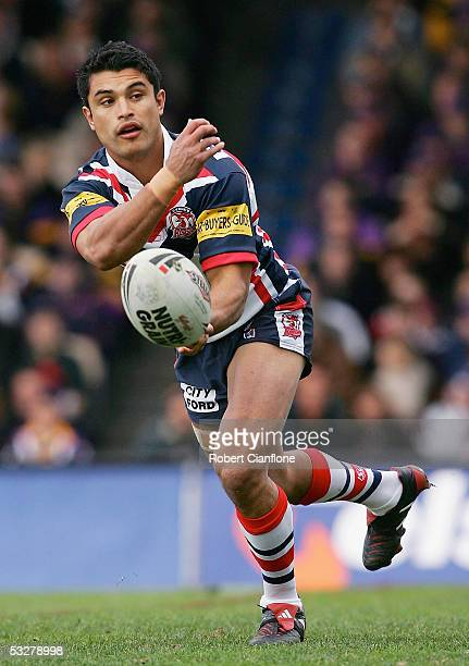 Craig Wing in action during the round 20 NRL match between the Melbourne Storm and the Sydney Roosters at Olympic Park on July 24 2005 in Melbourne...