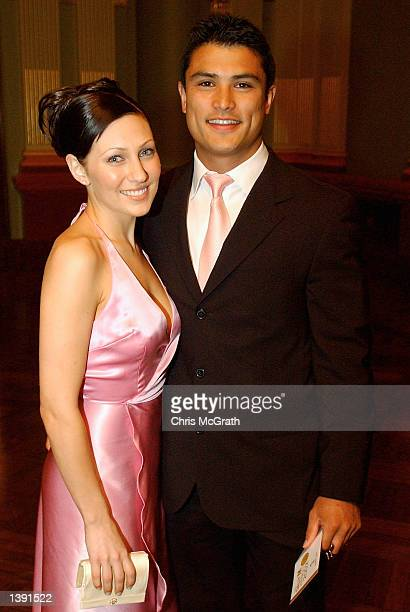 Craig Wing of the Sydney Roosters arrives with partner Zoe Foster at Sydney Town Hall for the NRL Dally M Awards night held at Sydney Town Hall...