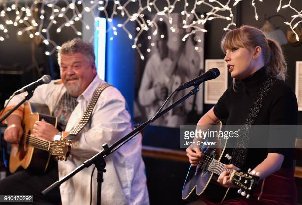 Craig Wiseman and special guest Taylor Swift perform onstage at Bluebird Cafe on March 31 2018 in Nashville Tennessee