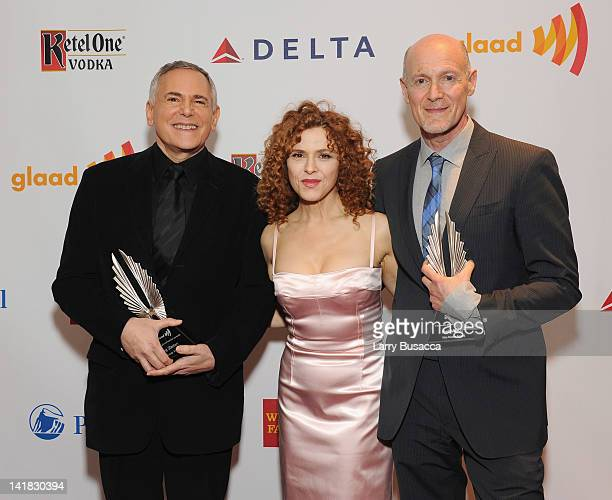 Craig Zadan, Bernadette Peters and Neil Meron attend the 23rd Annual GLAAD Media Awards presented by Ketel One and Wells Fargo at Marriott Marquis...