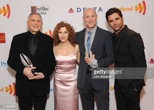 Craig Zadan, Bernadette Peters, Neil Meron, and John Stamos attend the 23rd Annual GLAAD Media Awards presented by Ketel One and Wells Fargo at...