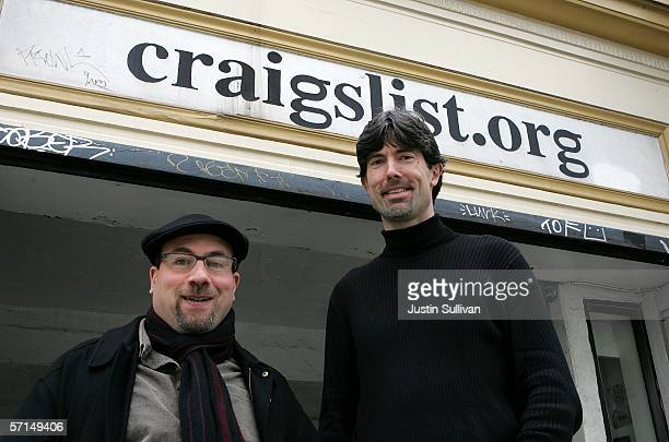 Craigslist founder Craig Newmark and Craigslist CEO Jim Buckmaster pose in front of the Craigslist office March 21 2006 in San Francisco California...