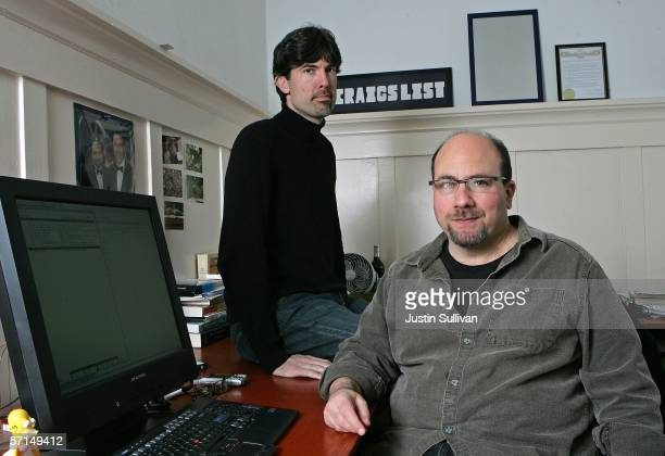 Craigslist founder Craig Newmark and Craigslist CEO Jim Buckmaster pose in the Craigslist office March 21 2006 in San Francisco California Craig...