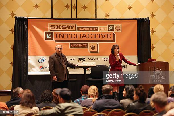 Craigslist founder Craig Newmark and writer Kelly McBride speak onstage at New Standards For A New Era Of Journalism during the 2013 SXSW Music Film...