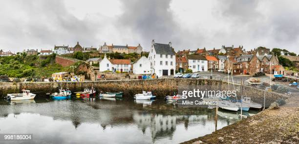 crail harbour panorama - mike caithness stock pictures, royalty-free photos & images