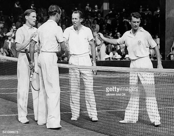 Cramm Gottfried von *Unternehmer Sportler Tennis 'Tennisbaron' D DavisCup in Wimbledon 1935 GvC und Lund gratulieren den siegreichen Amerikanern...