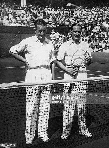 Cramm Gottfried von *Unternehmer Sportler Tennis 'Tennisbaron' D mit Crawford vor dem Spiel im DavisCup 1935Veroeffentlicht BMp