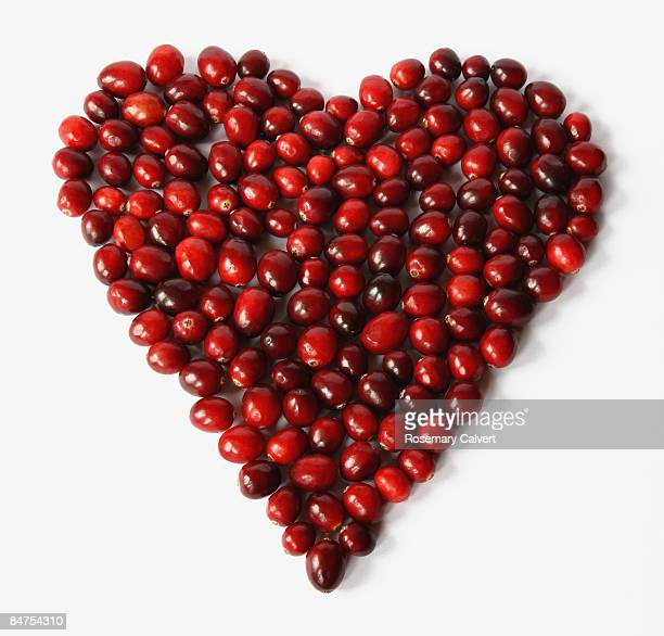 Cranberries arranged in a heart shape.