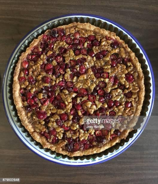 Cranberry and walnut tart