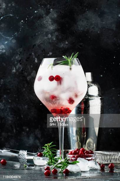 cranberry cocktail with ice, fresh rosemary and red berries in b - tonic water stock pictures, royalty-free photos & images