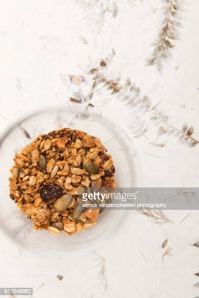 Cranberry granola in dessert glass.
