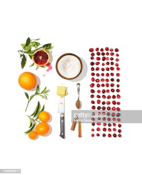 Cranberry Ingredients Organized with Knife Spoon and Bowl