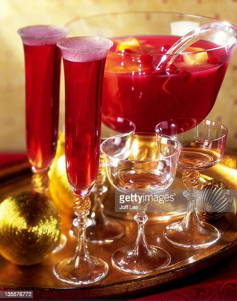 Cranberry punch in glasses and bowl