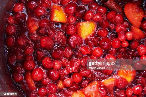 cranberry sauce close up - cranberry sauce stock photos and pictures
