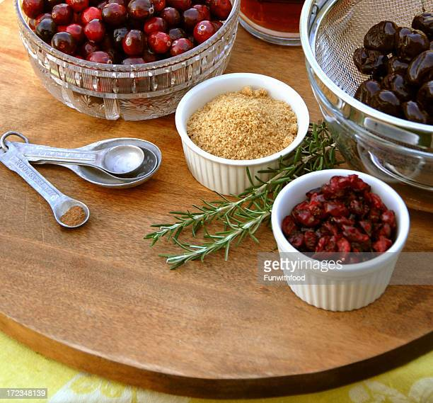 Cranberry Sauce Cooking Ingredients for Christmas, Thanksgiving Holiday Food