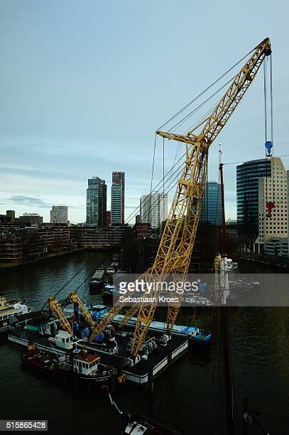 Crane and old Harbour, Leuvehaven, Rotterdam, the Netherlands