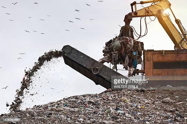 Crane at garbage collection center