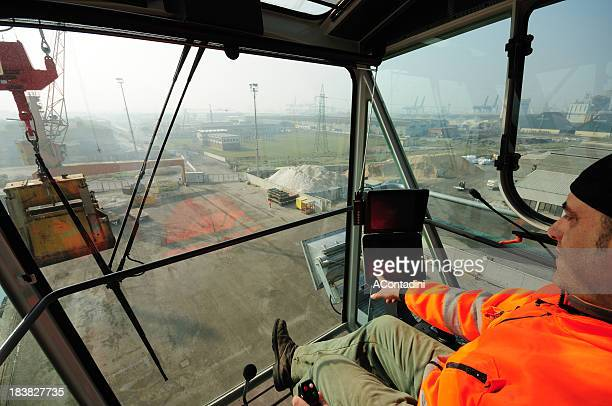 crane cabin view and operator - crane construction machinery stock pictures, royalty-free photos & images