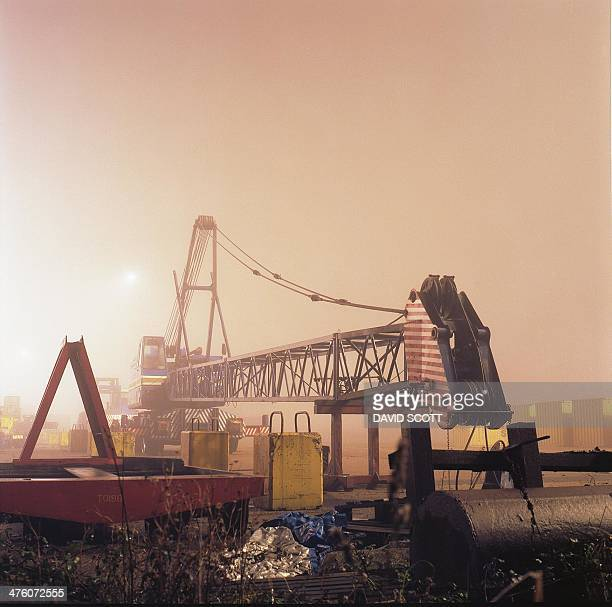 Crane Fog Felixstowe Port Night Film Medium Format Kodak Containers