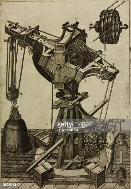 Crane for lifting and moving a bell engraving from Le diverse et artificiose machine del Capitano Agostino Ramelli 1588