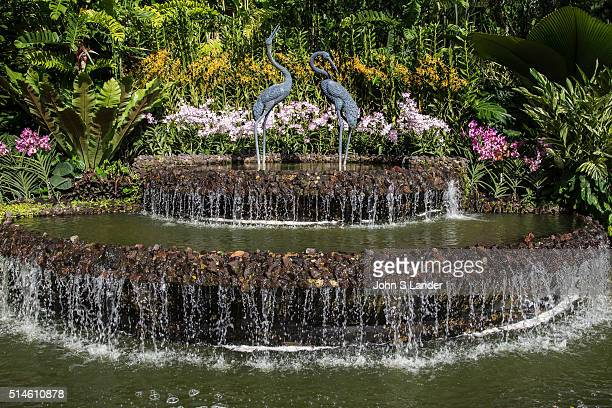 Crane Fountain at Singapore Botanic Garden a major visitor attraction in Singapore displaying a huge array of botanical horticultural life with a...