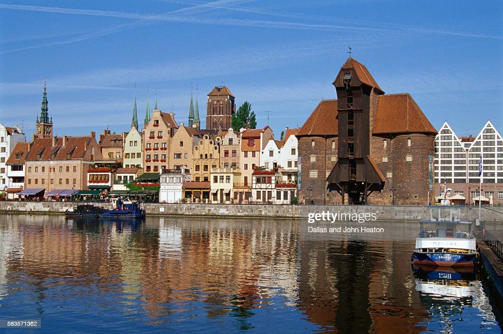 Crane Gate, Motlawa Canal, Old Town, Gdansk, Poland : Stock Photo