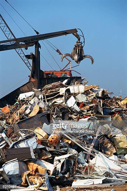 Crane in junkyard