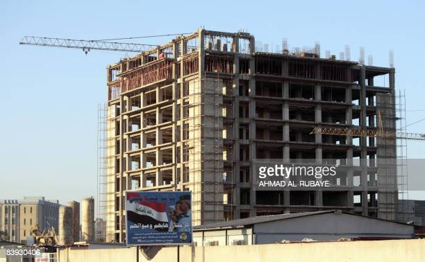 A crane is erected at a construction site in central Baghdad on December 5 2008 The real estate market is booming in the relatively more secure...
