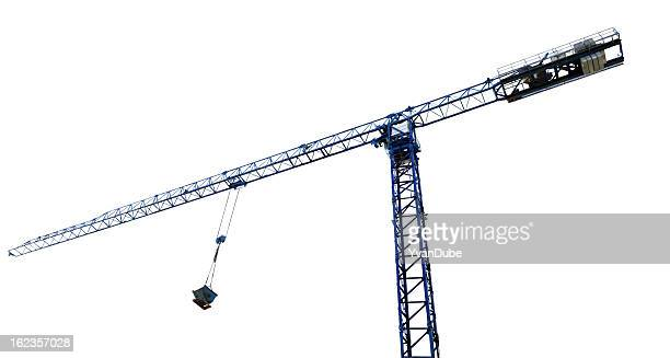 crane isolated on white(w/clipping path) - crane construction machinery stock pictures, royalty-free photos & images