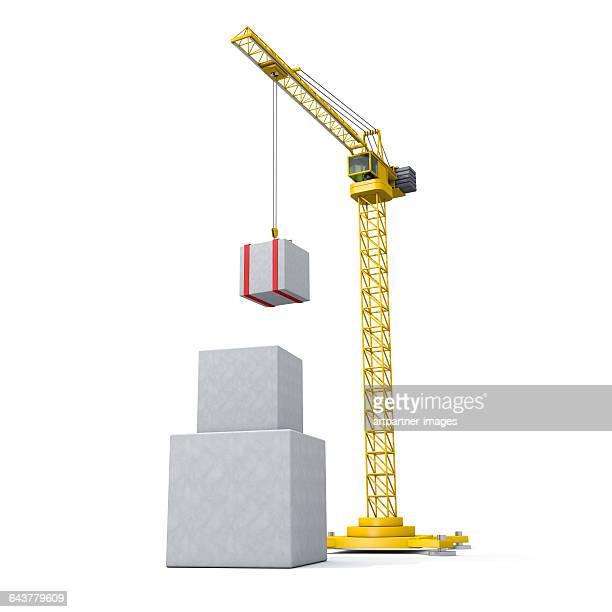crane lifting a block component - クレーン ストックフォトと画像
