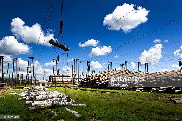 Crane lifting wood in Northeast sawmill
