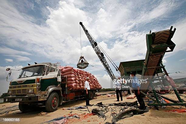 A crane load material from boats up to a truck at GreenFeed Co Ltd in Ben Luc Long An Vietnam GreenFeed is a fast growing Vietnambased aquafeed...