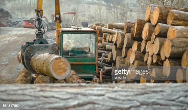 Crane moving logs