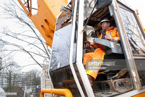 Crane operator in a crane on January 29, 2021 in Bonn, Germany.
