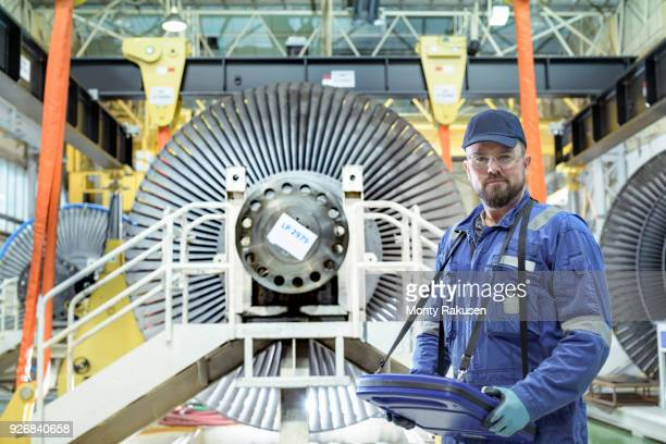 Crane operator with low pressure steam turbines in turbine maintenance factory