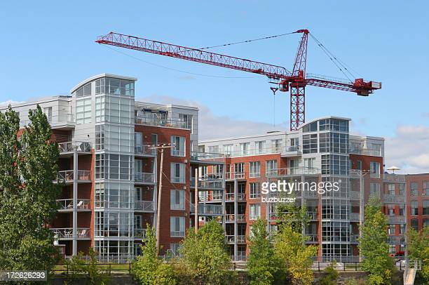 Crane over a Modern Residential Construction