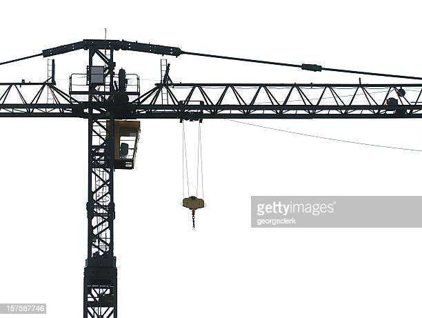 crane silhouette - crane construction machinery stock pictures, royalty-free photos & images
