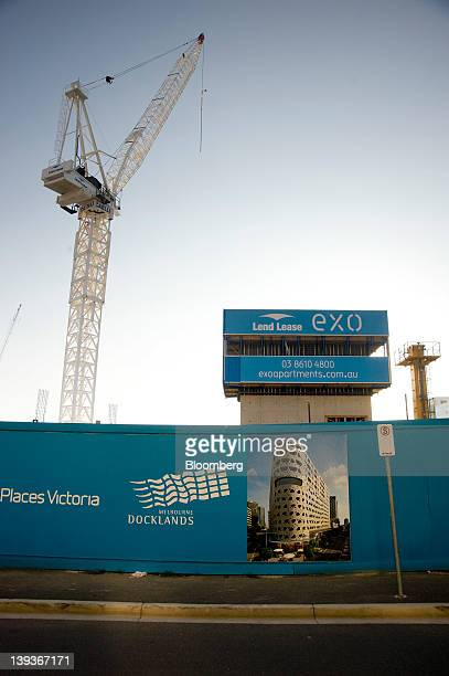 A crane stands on a Lend Lease Group construction site at Victoria Harbor in the Docklands precinct of Melbourne Australia on Sunday Feb 19 2012 Lend...
