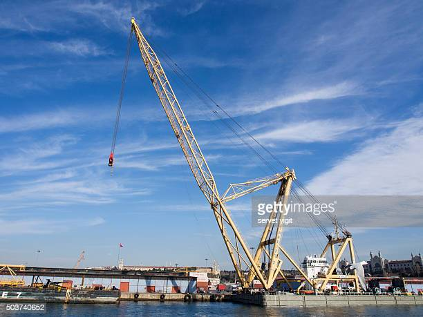 crane working on haydarpasa port in istanbul - haydarpasa stock photos and pictures