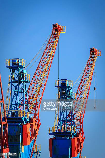 Cranes against a clear blue sky