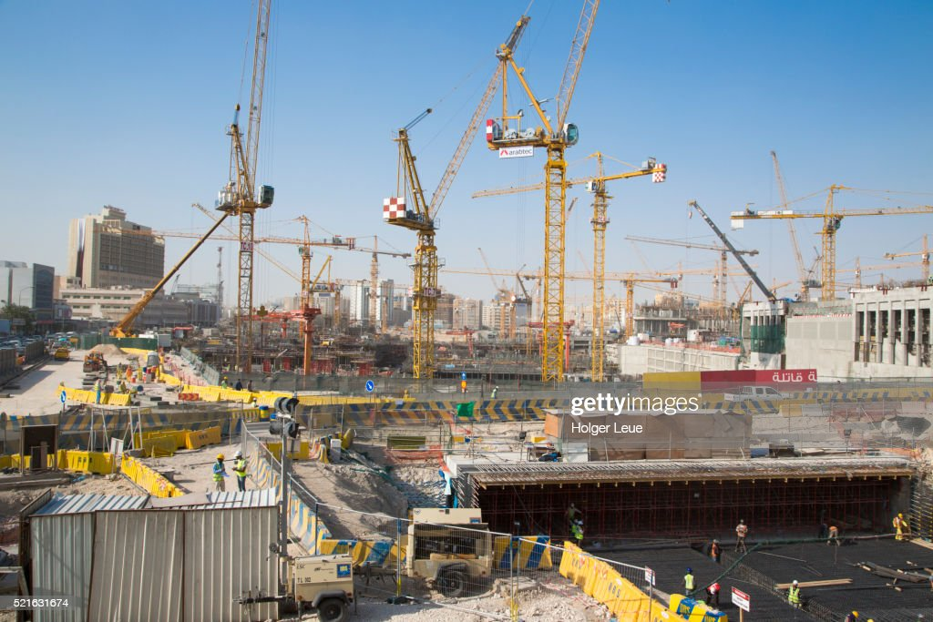 Cranes And Workers At Construction Site Near Souq Waqif