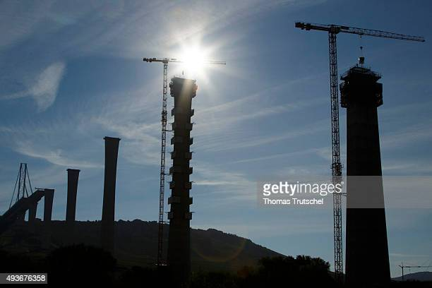 Cranes are on the site of the under construction bridge called ' Moselbruecke ' on October 12 2015 in Uerzig Germany