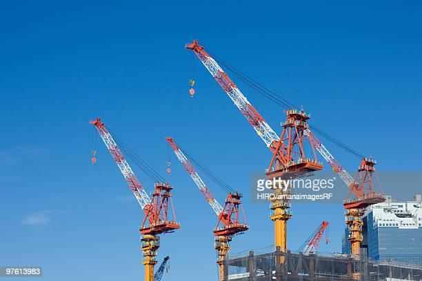 Cranes at construction site. Kita-ku, Osaka, Japan