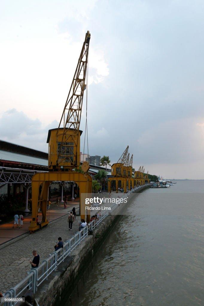Cranes At Docks Station, Amazon Region, Brazil : Stock-Foto