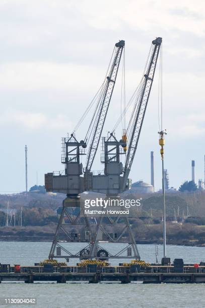 Cranes at the Port of Southampton on February 10 2019 in Southampton England The Port of Southampton is a passenger and cargo port in the central...