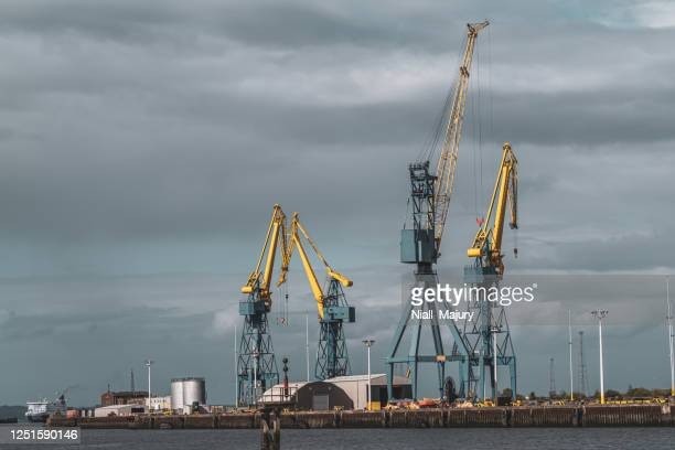 cranes at the quayside of a commercial dock - belfast stock pictures, royalty-free photos & images