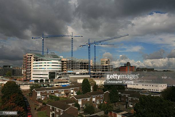 Cranes dominate the Birmingham skyline as work continues on the city's new Super Hospital the Queen Elizabeth Hospital on 25 September 2007 in...